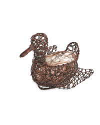Duck Rattan Effect Animal Planter - Chestnut