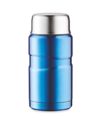 Food Flask With Foldable Spoon - Metallic Blue
