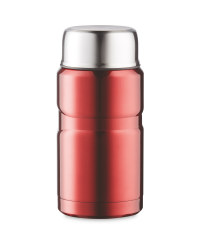 Food Flask With Foldable Spoon - Red