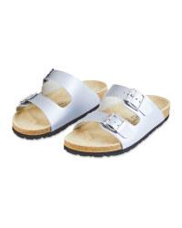 Ladies' Silver Footbed Sandals