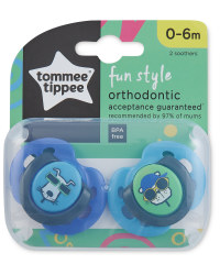 Fun Soothers 0-6 Months 2 Pack - Blue