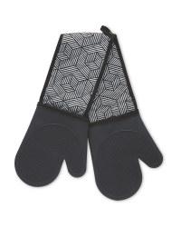 Black Geo Silicone Double Oven Glove