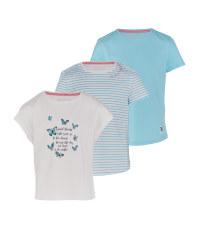 Girl's Shirt White & Stripe 3 Pack