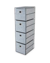 Grey 4 Drawer Fabric Storage Unit