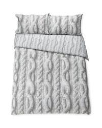 Grey Knit Double Duvet Set