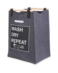 Grey Laundry Bag With Slogan
