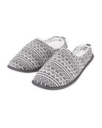 Grey Men's Winter Mule Slippers