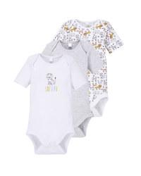 Grey/White Baby Bodysuit 3 Pack