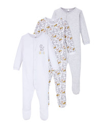 Grey/White Baby Sleepsuit 3 Pack
