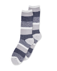 Mens Heat For Your Feet Socks - Navy/Grey
