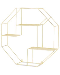 Kirkton House Hexagon Wire Shelf - Gold