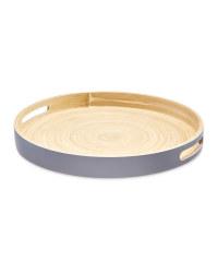 Kirkton House Round Bamboo Tray 35cm - Grey