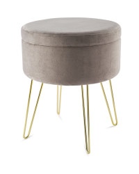 Kirkton House Velvet Stool - Grey