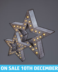 Kirkton House Wooden Stars 2 Pack - Rustic Brown
