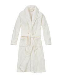 Ladies' Plush Bathrobe - White