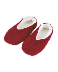 Ladies' Knitted Slipper Sock - Red