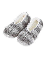 Ladies' Striped Knitted Slipper Sock - Grey