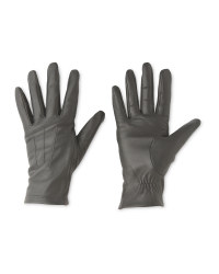 Ladies' 3 Point Leather Gloves - Grey