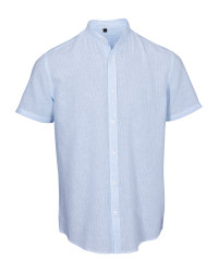 Light Blue Men's Linen Blend Shirt