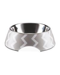 Medium Grey Chevron Pet Bowl