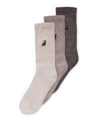 Men's Cream/Grey Chunky Socks 3 Pack