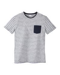 Mens Navy/White Striped Crew T-Shirt