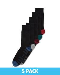 Men's Socks Black 5 Pack