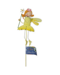 Metal Fairy Plant Pot Stick - Yellow