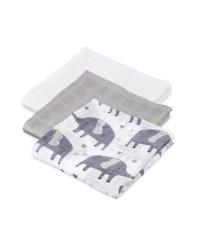 Elephant Muslin Cloths 3 Pack
