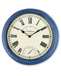 Outdoor Wall Clock & Thermometer - Blue