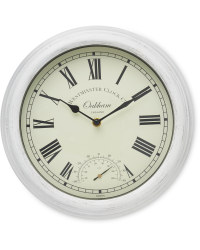 Outdoor Wall Clock & Thermometer - Cream