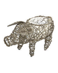 Pig Rattan Effect Animal Planter - Slate