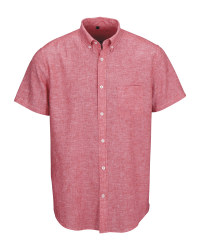Red Men's Linen Blend Shirt
