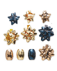 Blue & Gold Ribbons & Bows 33 Pack