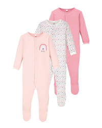Rose/Pink Baby Sleepsuit 3 Pack