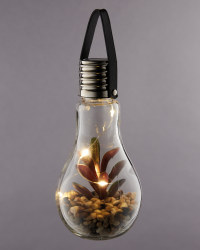 Solar Glass Bulb With Faux Succulent