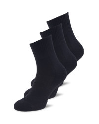 Sports Ankle Socks 3 Pack - Black