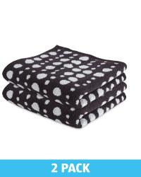 Black & White Hand Towels 2 Pack