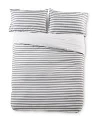 Superking Charcoal Stripe Duvet Set
