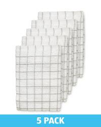 Dark Grey Terry Tea Towels 5 Pack