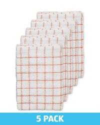 Orange Terry Tea Towels 5 Pack