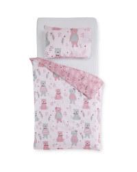 Pink Bear Toddler Duvet Set