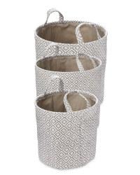 White & Grey Paper Basket Set 3 Pack