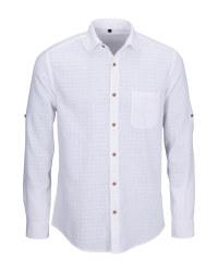 Men's White Linen Blend Shirt