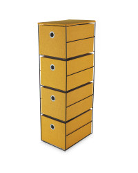 Yellow 4 Drawer Fabric Storage Unit