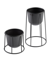 Round Metal Planter with Frame Set - Black