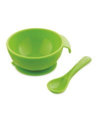 Nuby Silicone Bowl And Spoon Set - Green