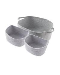 Large Rope Basket 3 Pack - Grey & White