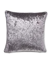 Crushed Velvet Effect Cushion - Grey
