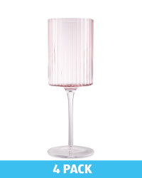 Kirkton House Ribbed Wine Glass - Pink